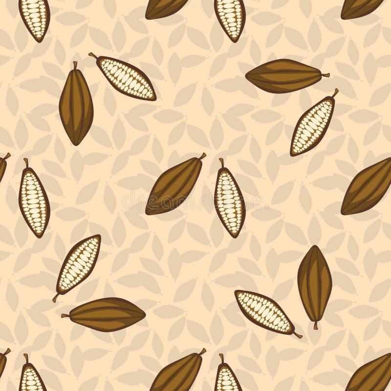 Картина фасолей какао безшовная помадки десерта шоколада предпосылки темные белые иллюстрация вектора