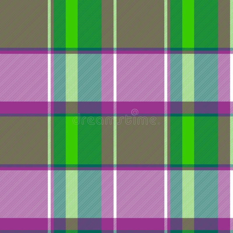 Картина фиолетовой текстуры ткани проверки зеленого цвета безшовная иллюстрация штока