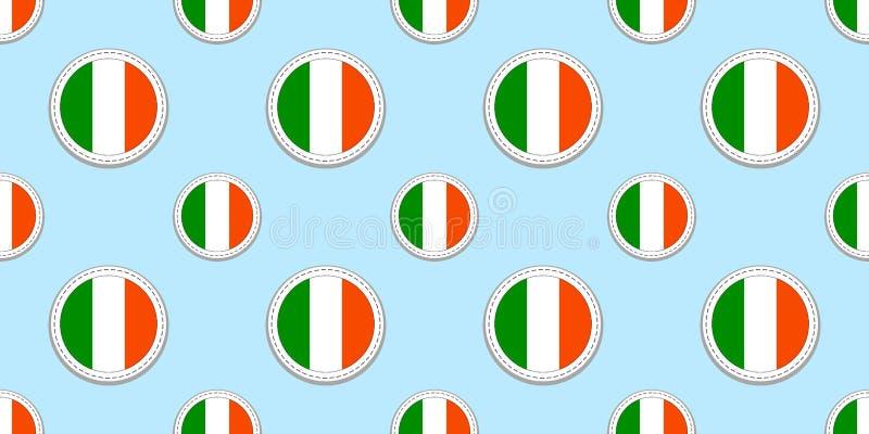 Картина флага круга Ирландии безшовная Ирландская предпосылка Значки круга вектора Геометрические символы Текстурируйте для стран иллюстрация вектора
