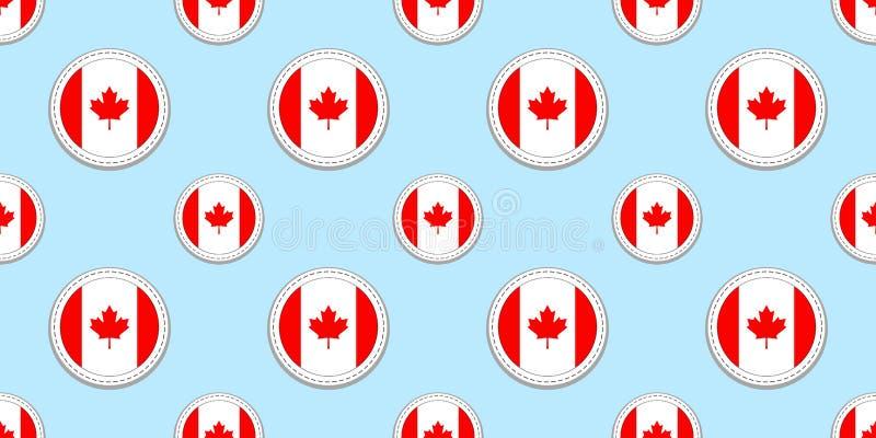 Картина флага круга Канады безшовная Канадская предпосылка Значки круга вектора Геометрические символы Текстура для спорт иллюстрация вектора