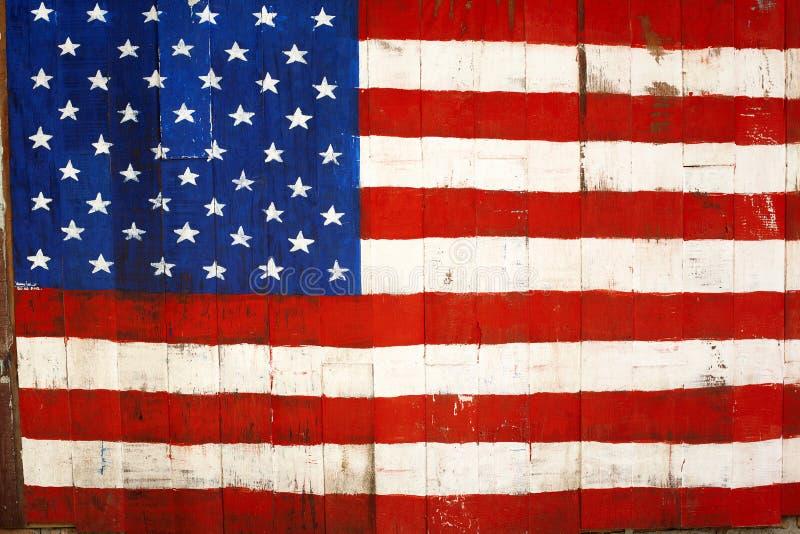 Картина флага США ретро на древесине стоковые изображения rf