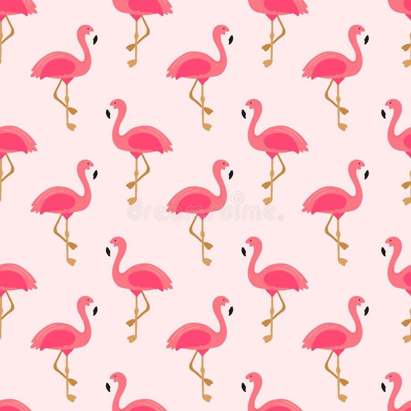 Картина фламинго безшовная Экзотический дизайн искусства Гаваи для ткани, ткани, оформления, знамени Розовая предпосылка с милым иллюстрация вектора
