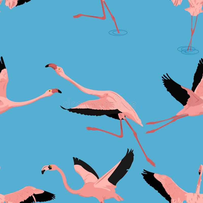 Картина фламинго летания безшовная в векторе стоковая фотография