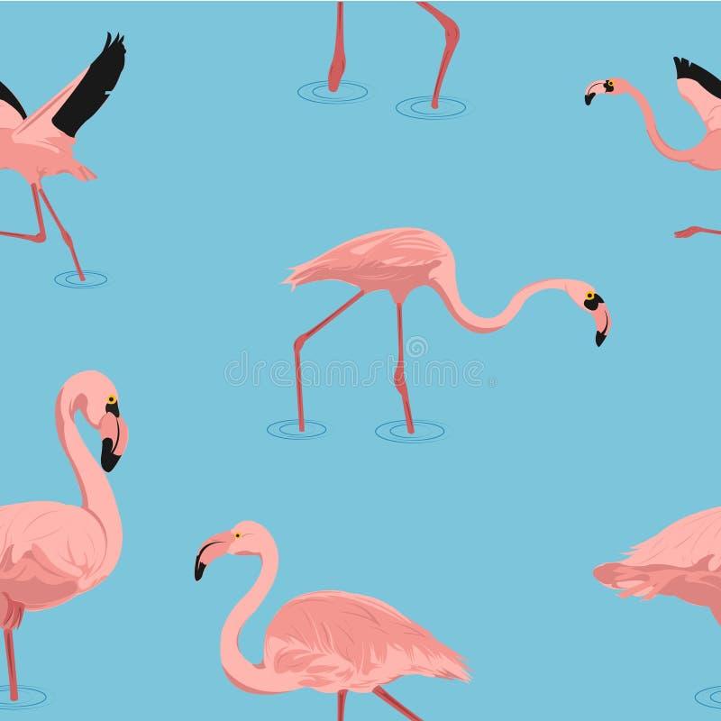 Картина фламинго летания безшовная в векторе стоковые фотографии rf