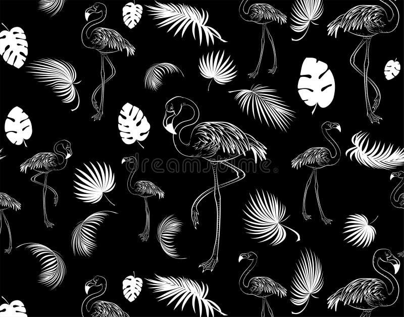 Картина фламинго предпосылка тропическая иллюстрация вектора