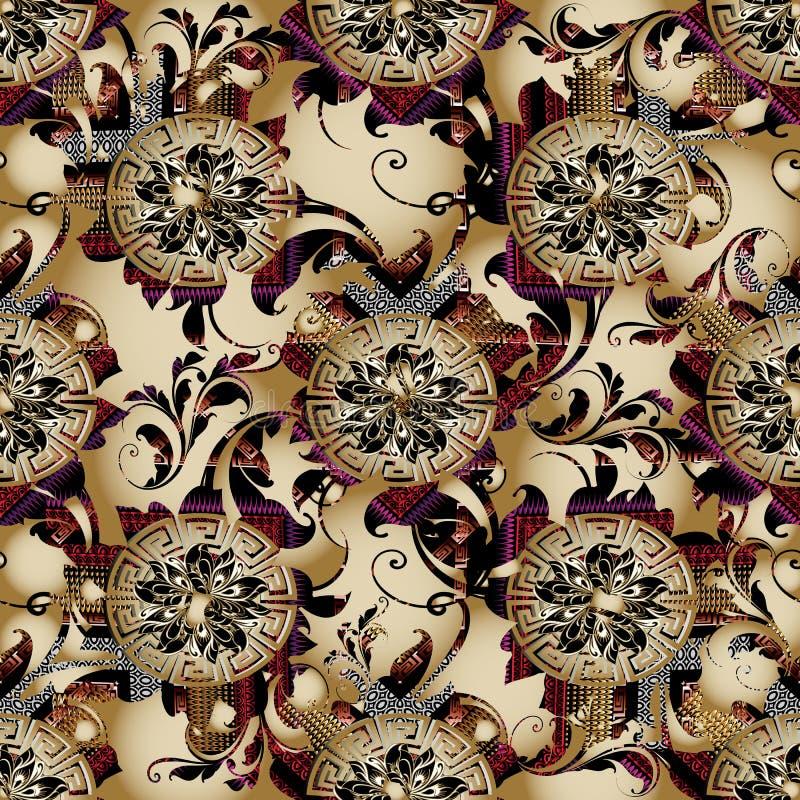 Картина флористического вектора грека 3d безшовная Винтажное бежевое backgroun бесплатная иллюстрация