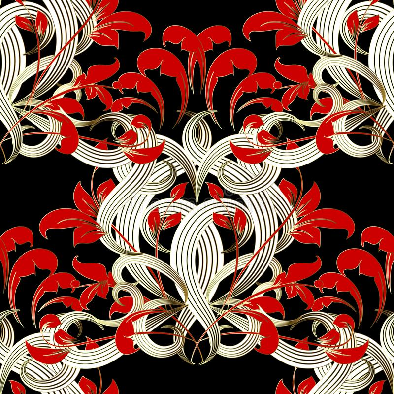 Картина флористического современного черного красного белого вектора безшовная затейливо бесплатная иллюстрация