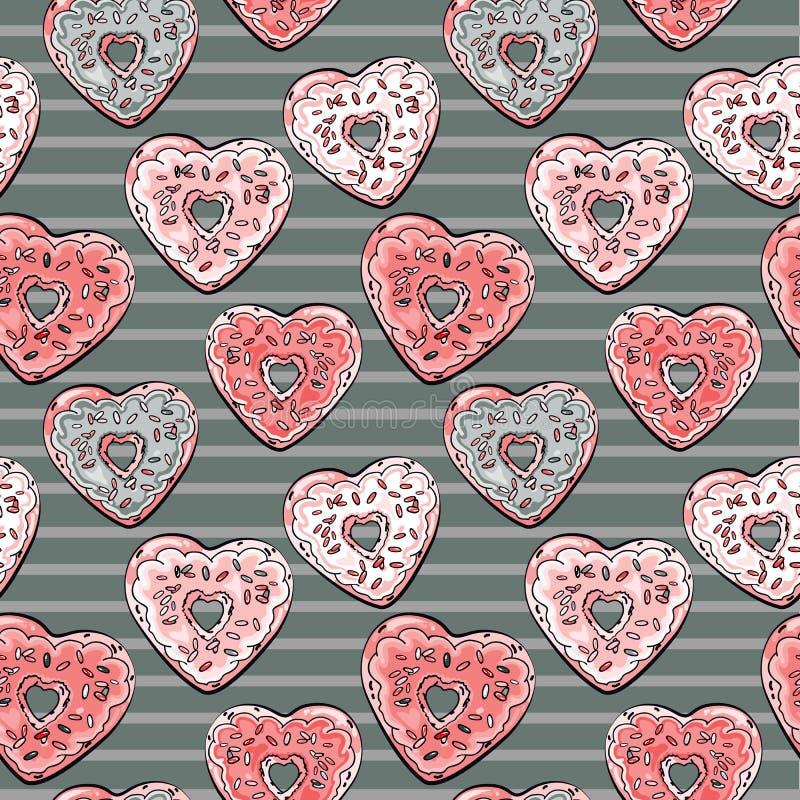 Картина формы сердца Donuts на striped предпосылке иллюстрация штока