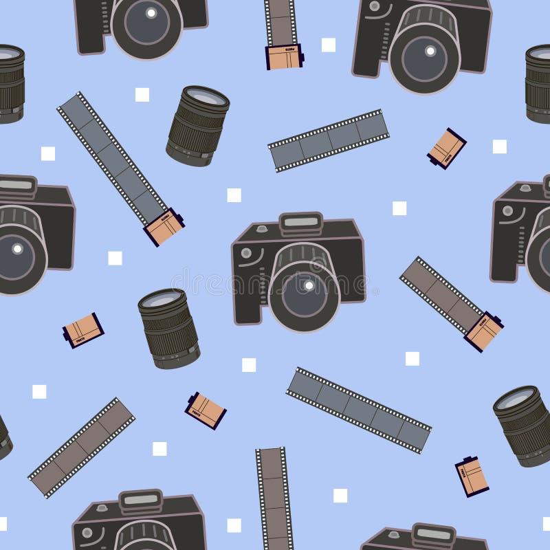 Картина фотографического оборудования безшовная, украшение для упаковочной бумаги фото, предпосылка, рогульки и плакаты для фотог бесплатная иллюстрация