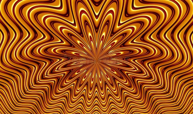 Картина фрактали золотой розетки - перевода Illustation 3d иллюстрация вектора