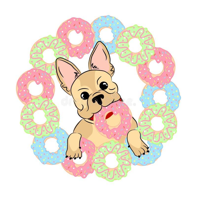 Картина французского бульдога безшовная собака счастливая бесплатная иллюстрация