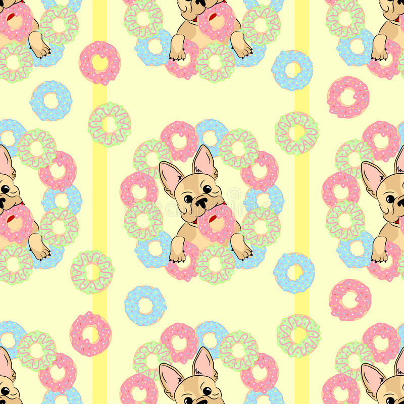 Картина французского бульдога безшовная собака счастливая иллюстрация штока