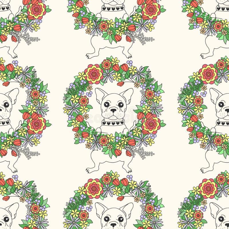 Картина французского бульдога безшовная собака счастливая иллюстрация вектора