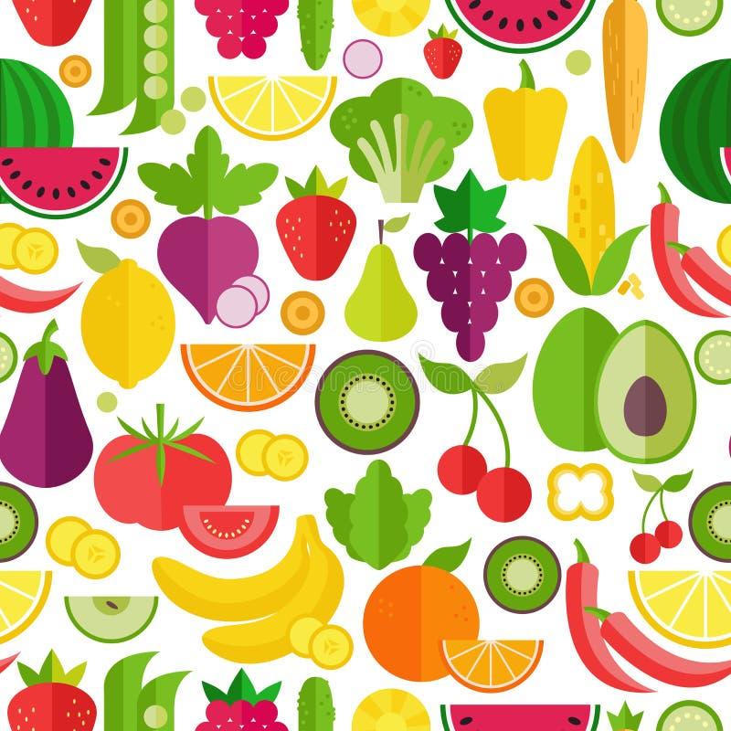 Картина фруктов и овощей безшовная Органическая и здоровая еда Плоский стиль, иллюстрация вектора бесплатная иллюстрация