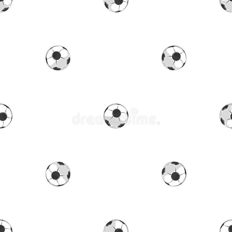 Картина футбольных мячей безшовная в черно-белом бесплатная иллюстрация