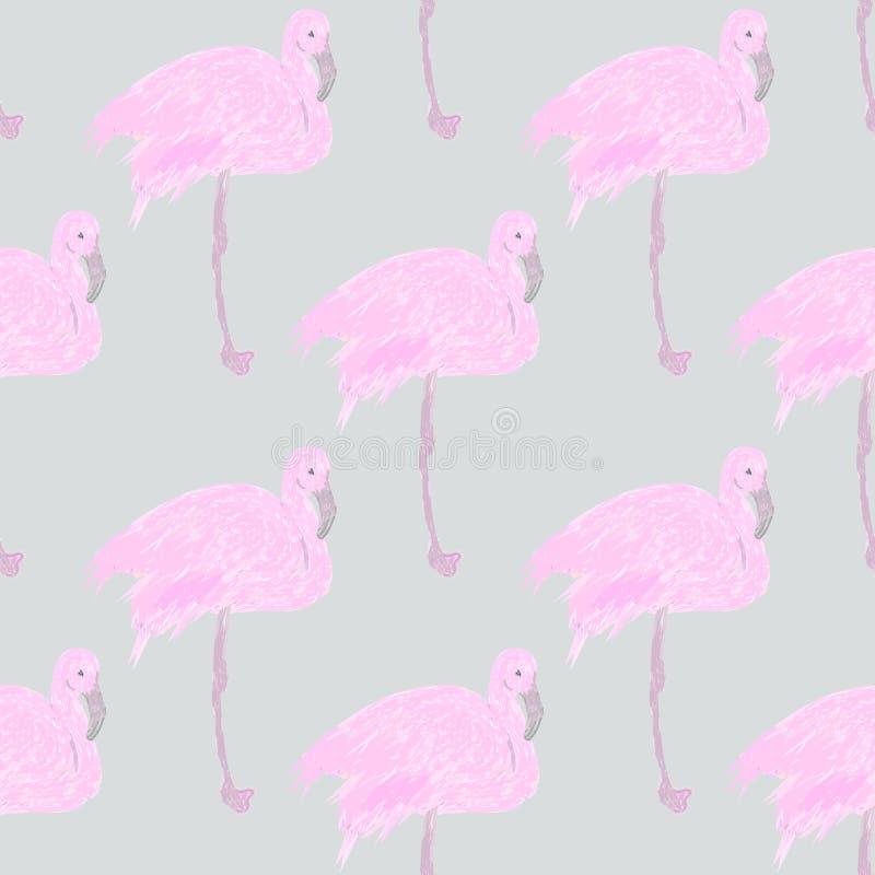 Картина фламинго безшовная дизайн предпосылки для ткани и оформления, розового фламинго иллюстрация вектора