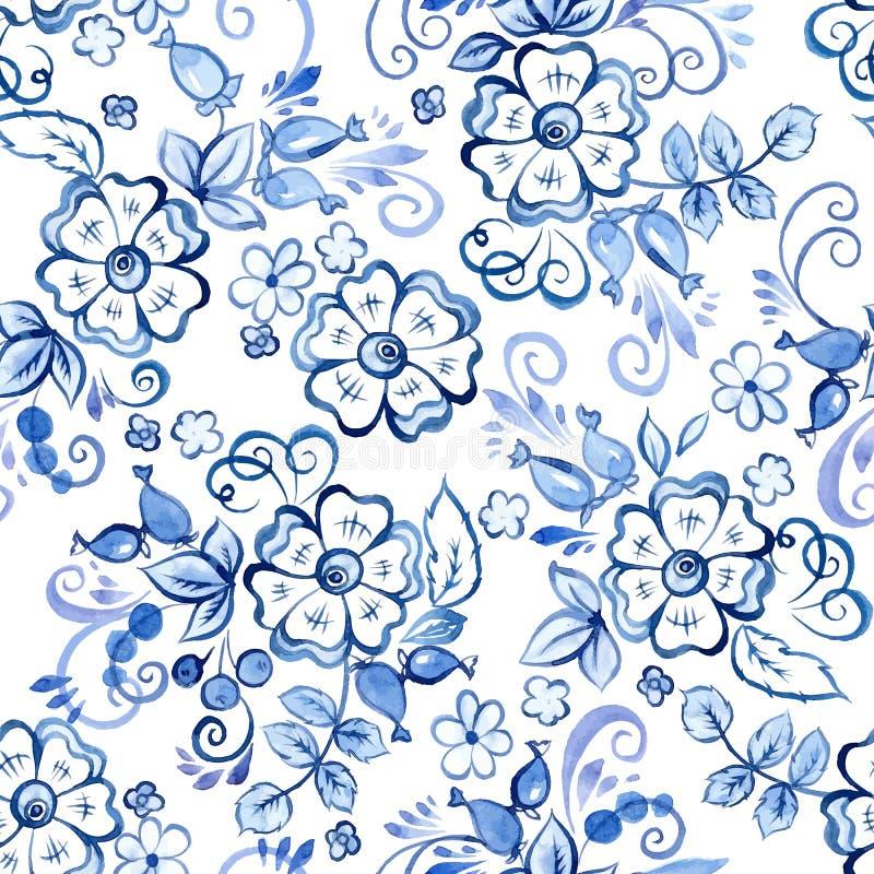 Картина флористической акварели безшовная в стиле Gzhel русского иллюстрация штока