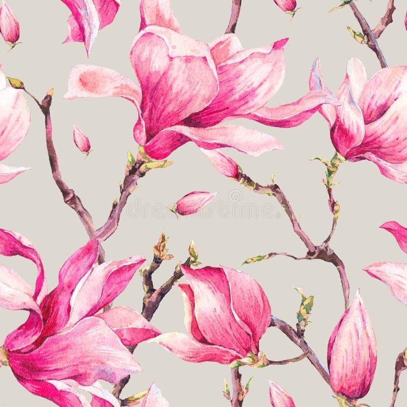 Картина флористической весны акварели безшовная с магнолией бесплатная иллюстрация