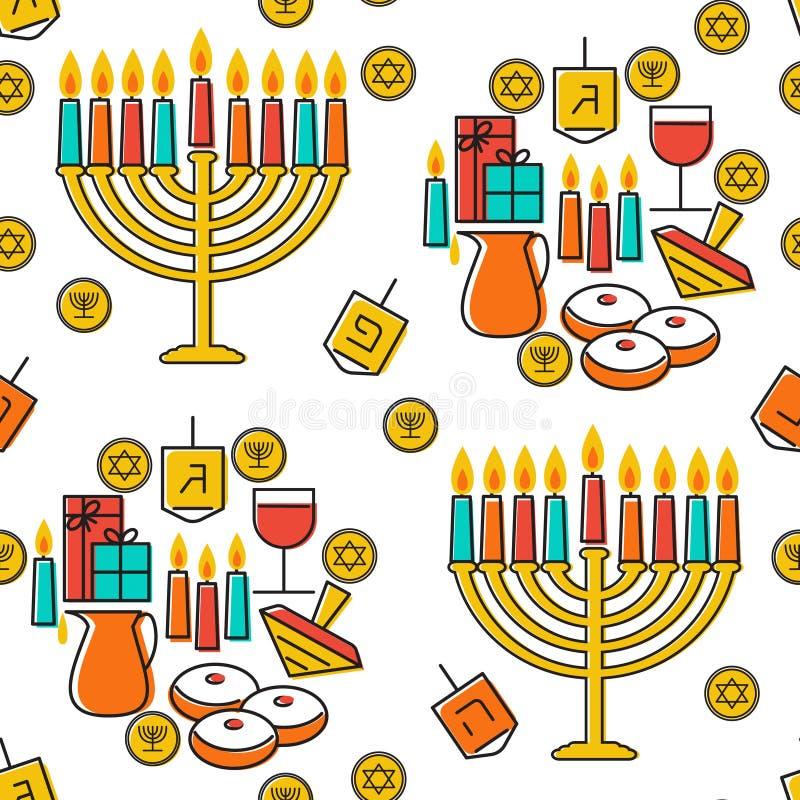 Картина Хануки безшовная Simbols Хануки Свечи, menorah, sufganiot и dreidel Хануки