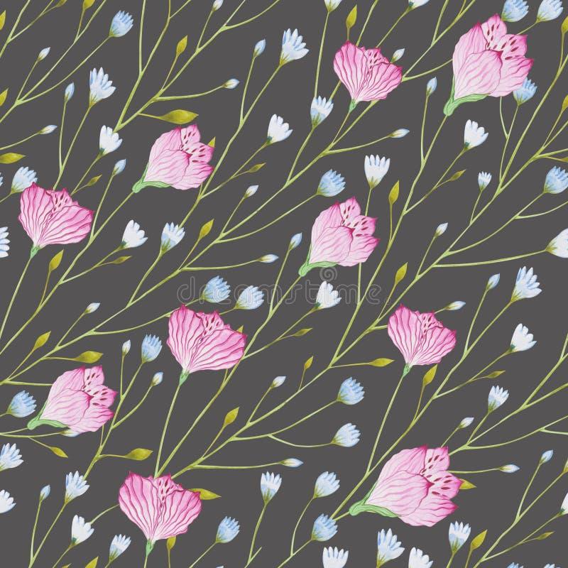 Картина хворостин акварели тонких с голубыми и розовыми цветками на серой предпосылке иллюстрация вектора
