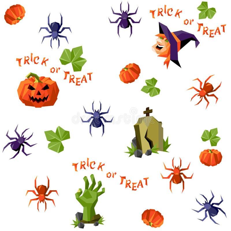 Картина хеллоуина безшовная смешанная в низко-поли стиле бесплатная иллюстрация