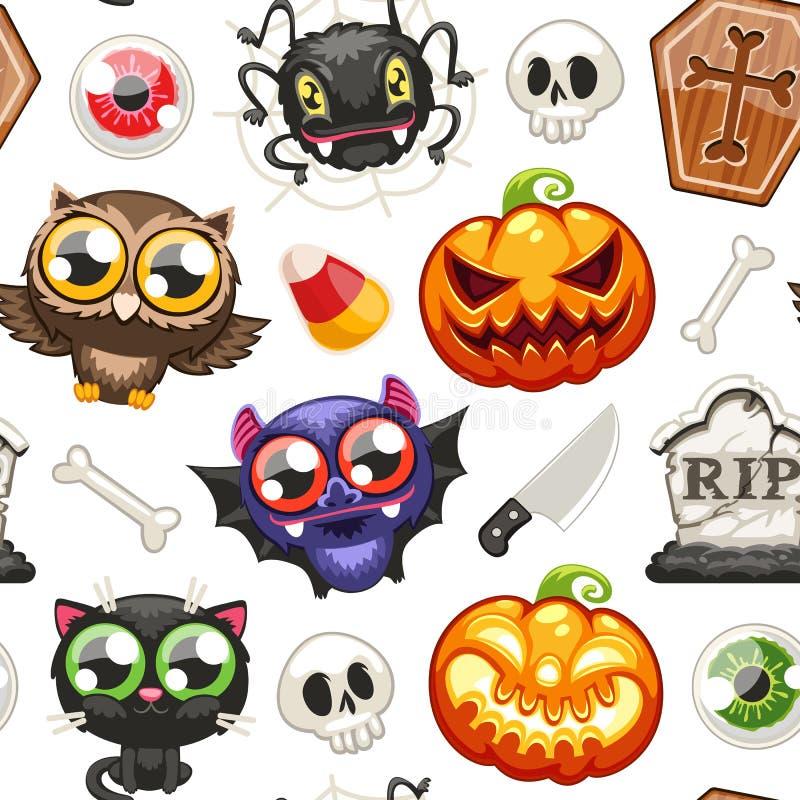 Картина хеллоуина безшовная с персонажами из мультфильма иллюстрация штока