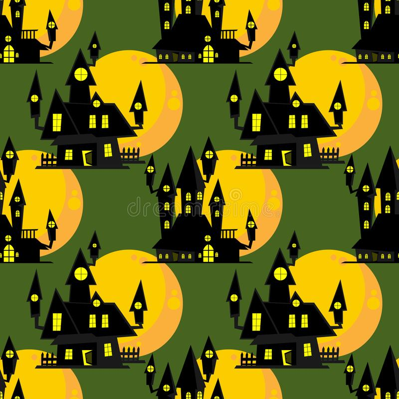 Картина хеллоуина безшовная с преследовать домом с полнолунием иллюстрация вектора