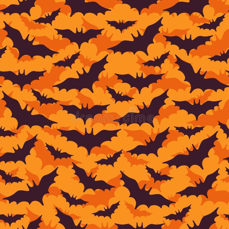 Картина хеллоуина безшовная с черными летучими мышами иллюстрация штока