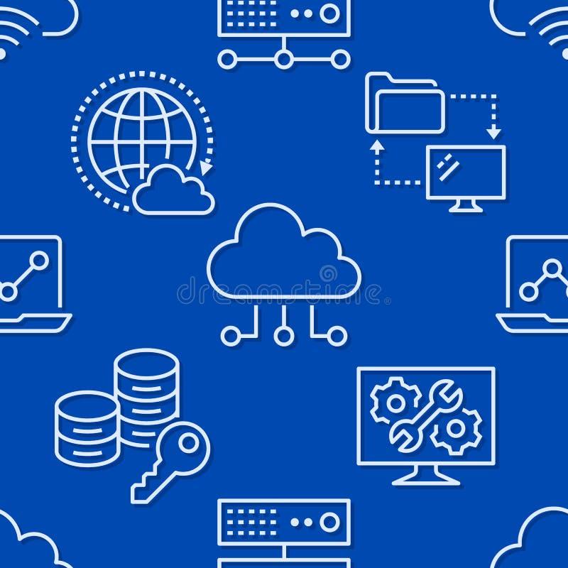 Картина хранения данных облака безшовная с линией значками Предпосылка базы данных, информация, центр сервера, глобальная вычисли бесплатная иллюстрация