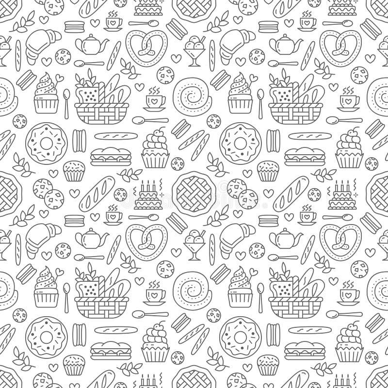 Картина хлебопекарни безшовная, предпосылка вектора еды черного белого цвета Продукты кондитерскаи утончают линию значки - торт иллюстрация штока