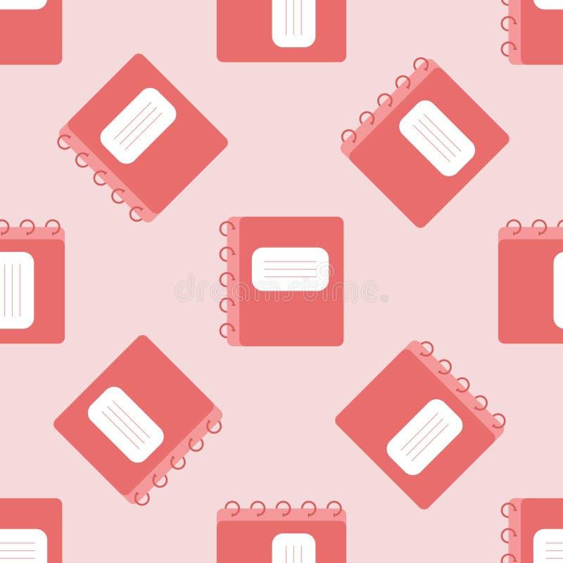 Картина цвета вектора безшовная Плоская тетрадь с прописями школы Бумага Scrapbook Для ткани печати, упаковочная бумага, знамя иллюстрация штока