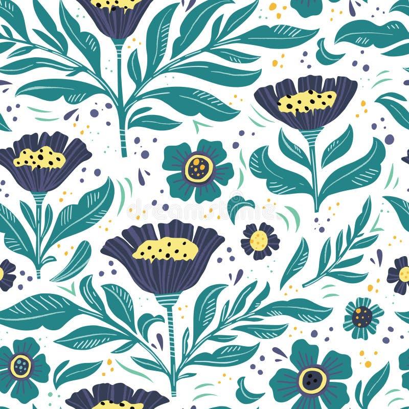 Картина цвета флористической плоской руки вычерченная безшовная бесплатная иллюстрация