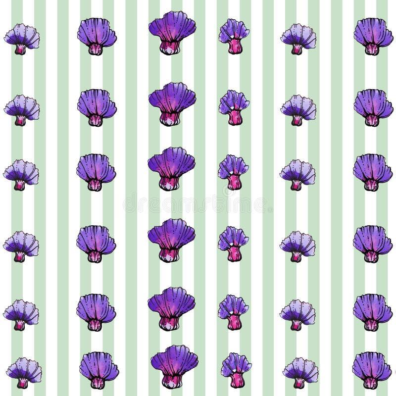 Картина цветка акварели фиолетовая, striped предпосылка стоковые изображения