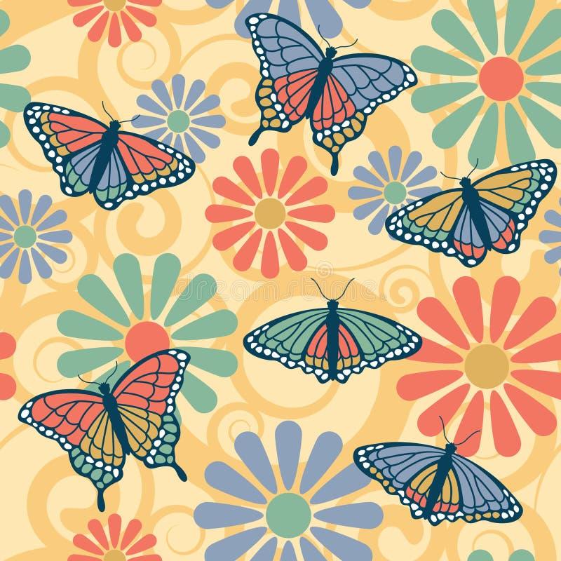 картина цветка бабочки иллюстрация вектора