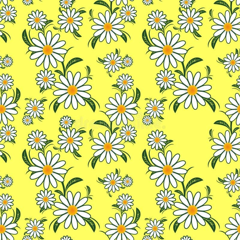 Картина цветка безшовная с Camomiles на желтом цвете бесплатная иллюстрация