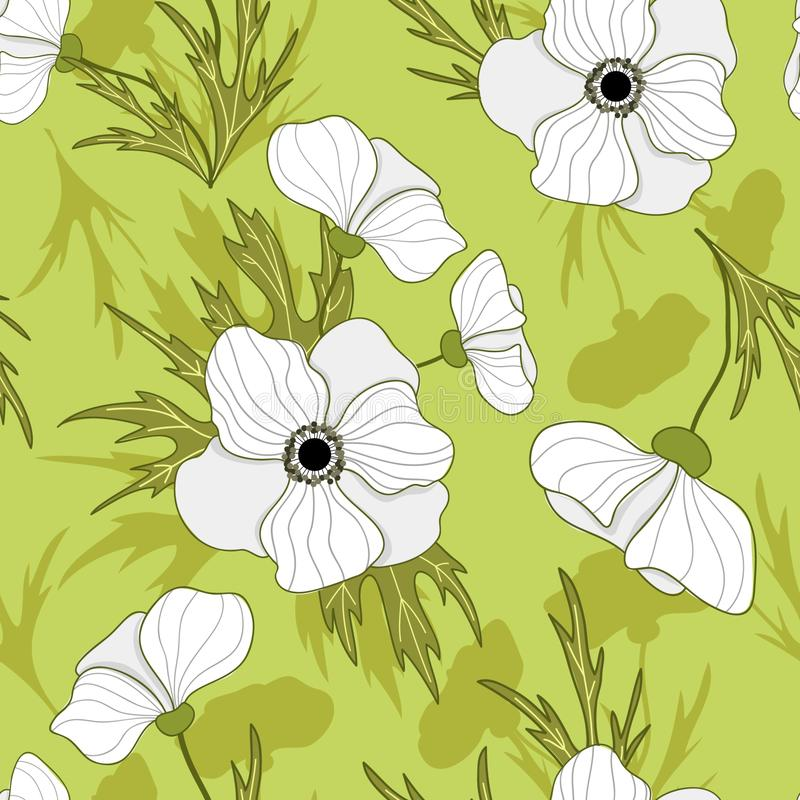 Картина цветка ветреницы безшовного вектора винтажная иллюстрация штока