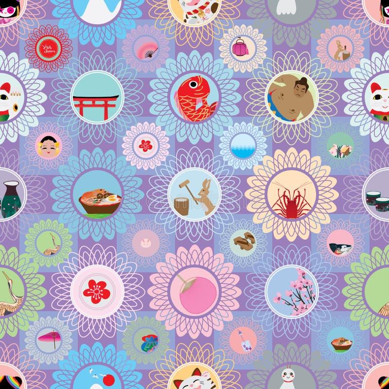 Картина цветка изображения круга Японии посещения безшовная иллюстрация штока
