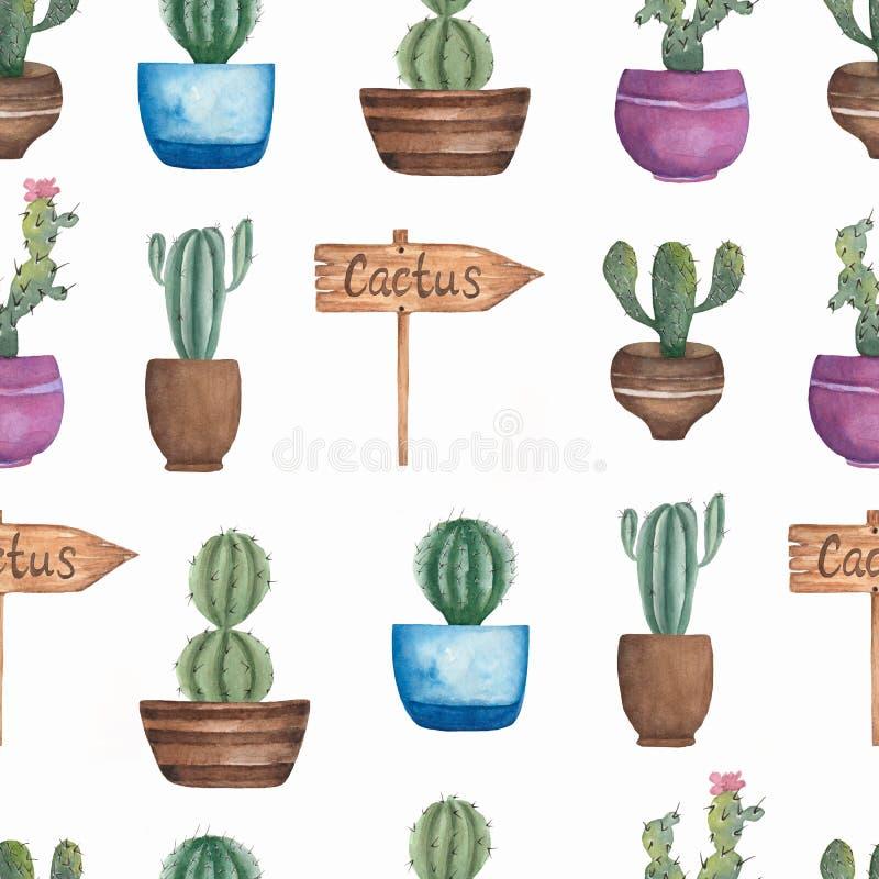 Картина цветка кактусов акварели безшовная Нарисованная вручную предпосылка с кактусом в баке и деревянном указателе Заводы зелен иллюстрация штока