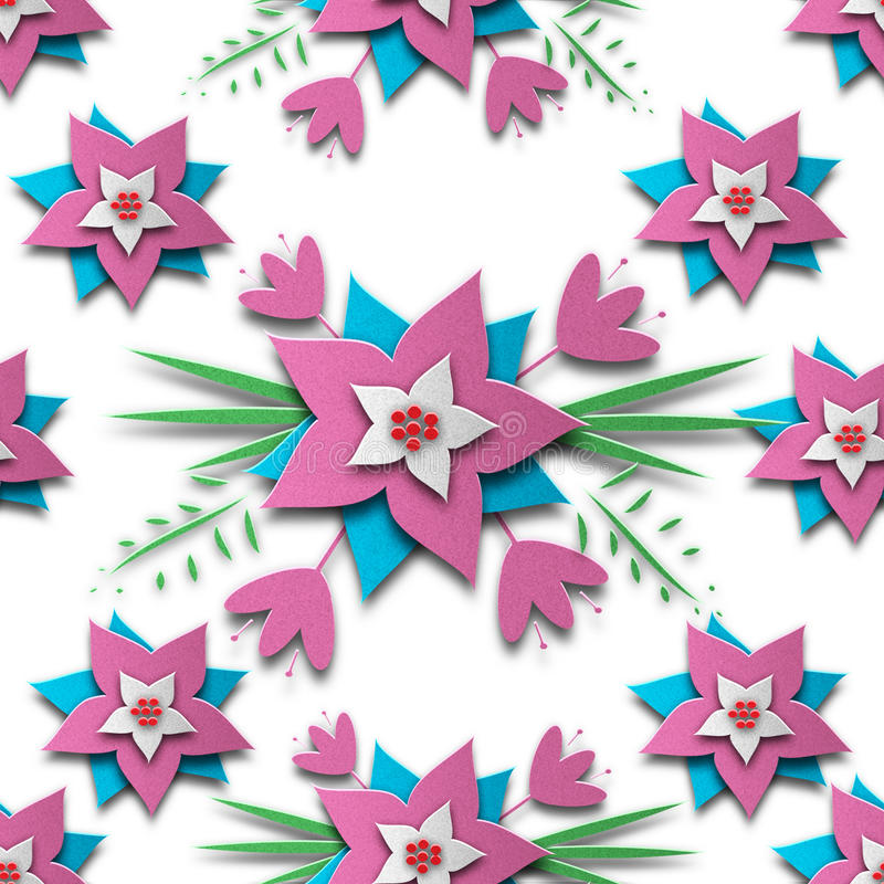 Картина цветка отрезанная бумагой безшовная стоковые фотографии rf
