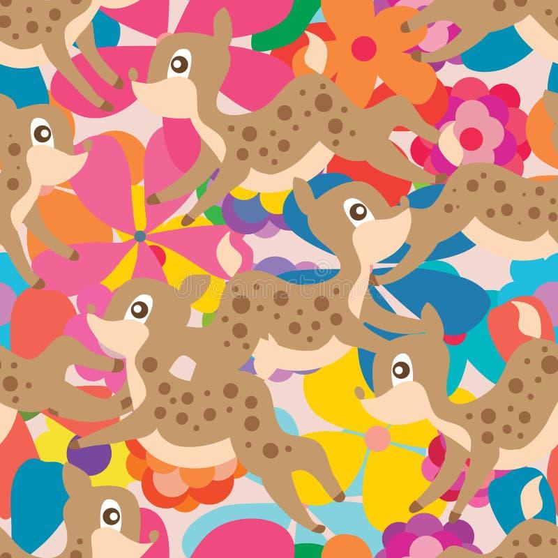 Картина цветка оленей пастельная безшовная бесплатная иллюстрация