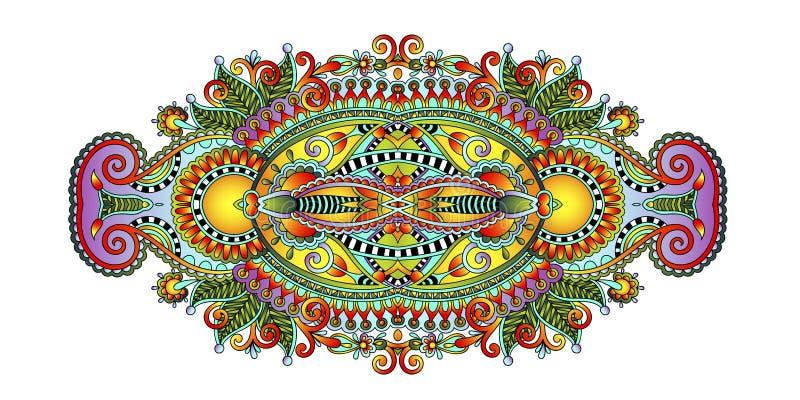 Картина цветка Пейсли в этническом стиле, индийское декоративное флористическом иллюстрация штока