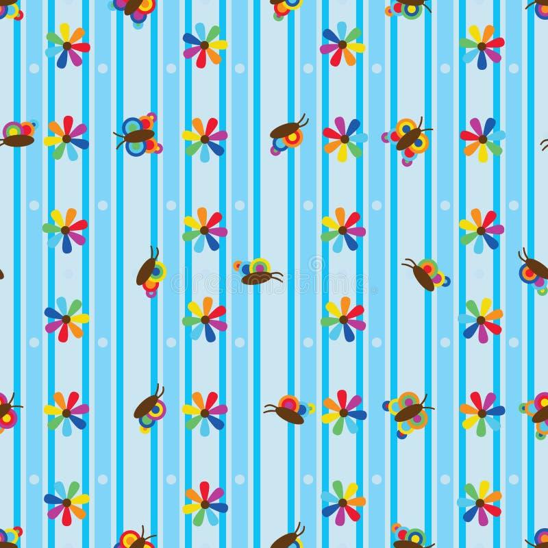 Картина цветка радуги бабочки вертикальная горизонтальная безшовная иллюстрация вектора
