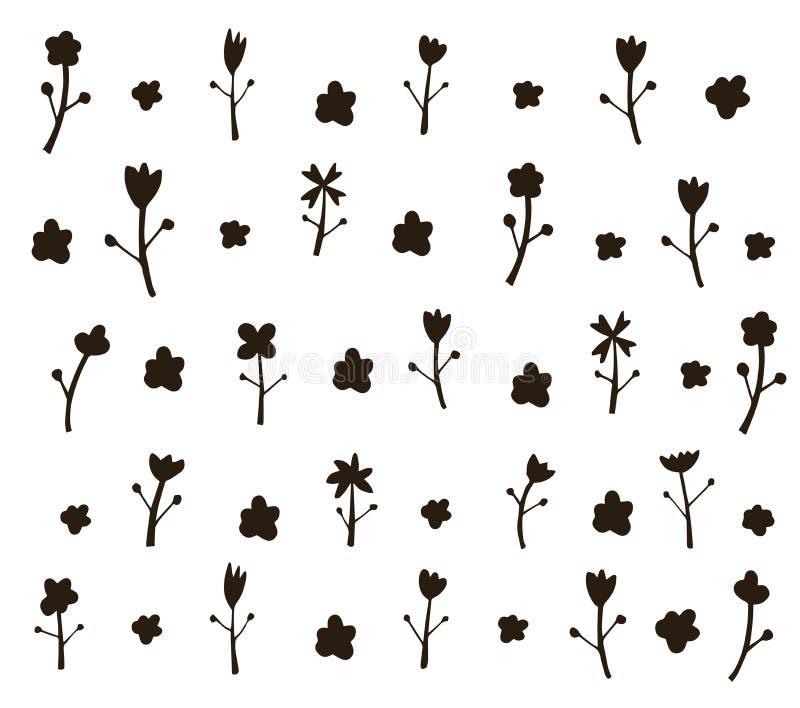 Картина цветка черным по белому Нарисованная рукой иллюстрация щетки Sp стоковые фото