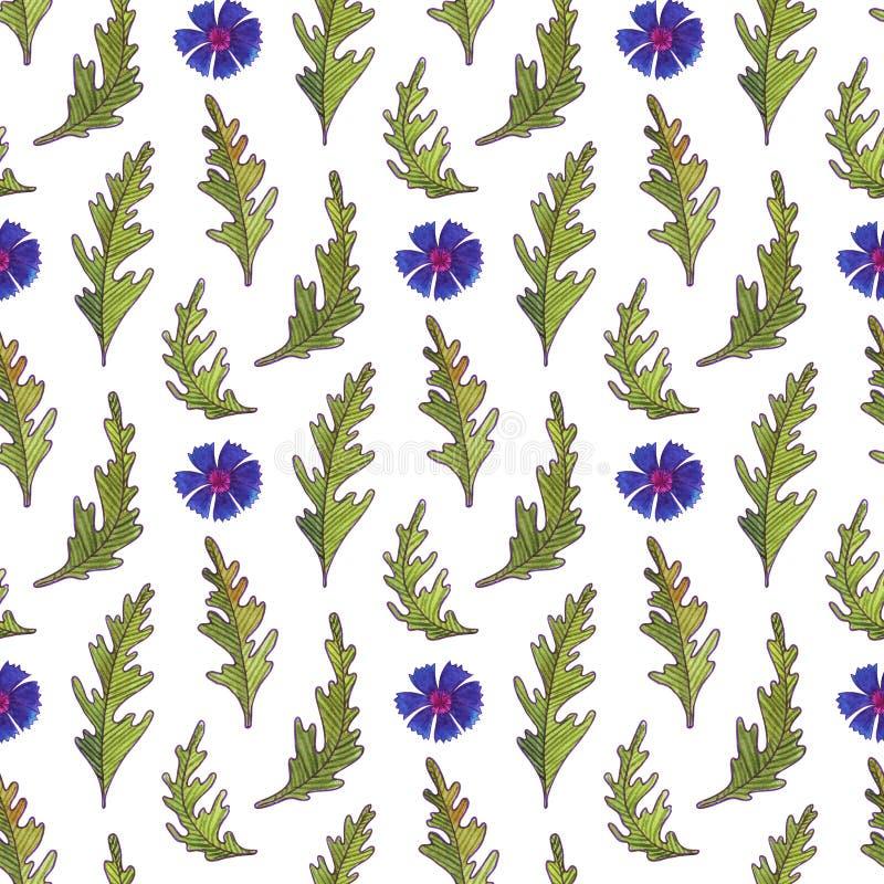 Картина цветков акварели безшовная r иллюстрация вектора
