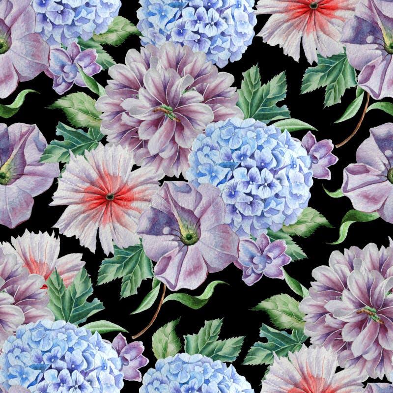 картина цветков безшовная Пион hydrangea изображение иллюстрации летания клюва декоративное своя бумажная акварель ласточки части иллюстрация штока