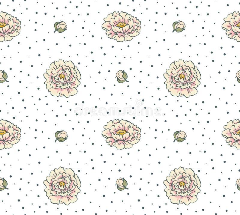 картина цветков безшовная Флористическая предпосылка с пионами бесплатная иллюстрация