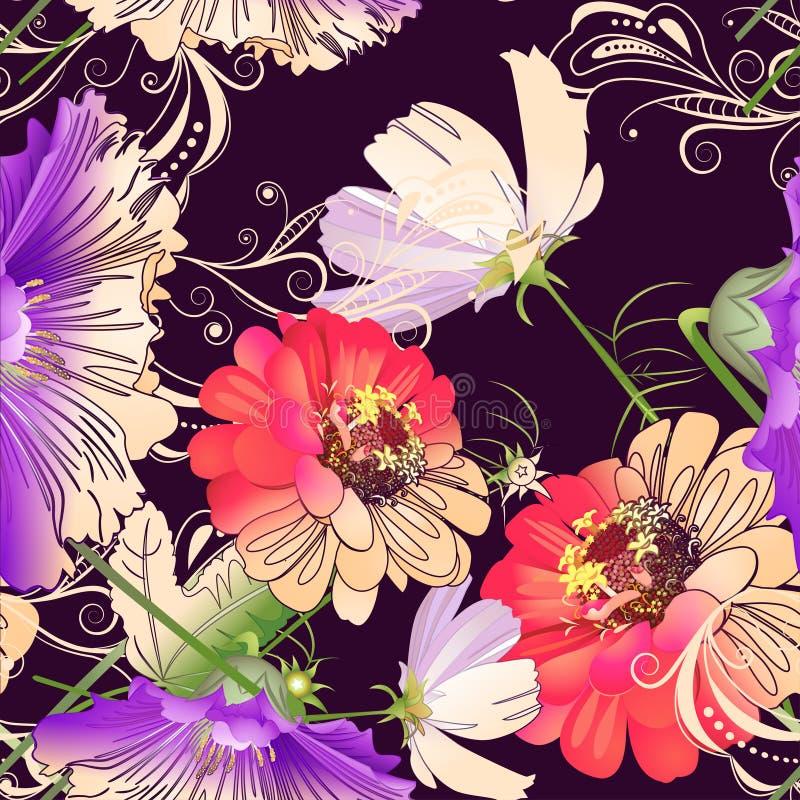 картина цветков безшовная иллюстрация вектора