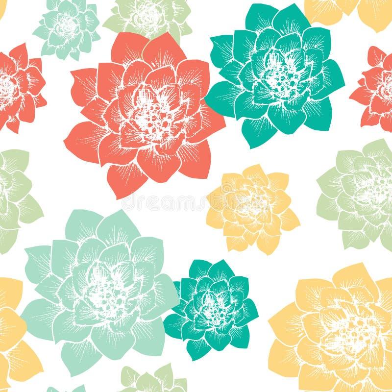 Картина цветков кактуса безшовная иллюстрация штока