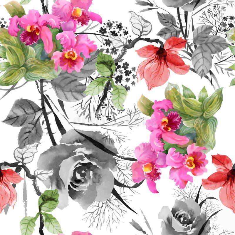 Картина цветков красивого сада лета акварели зацветая безшовная иллюстрация вектора