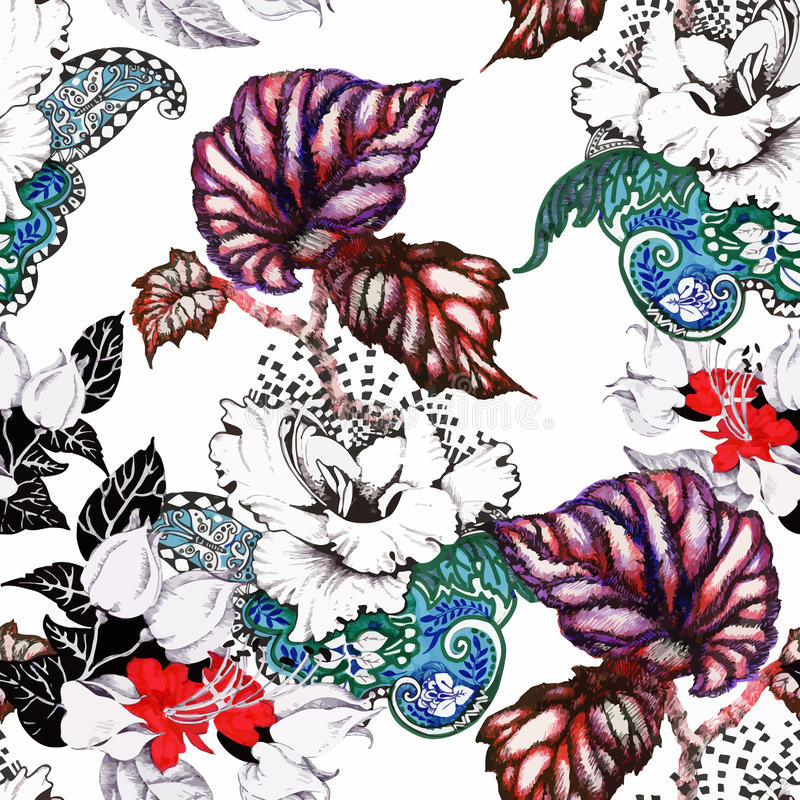 Картина цветков красивого сада лета акварели зацветая безшовная бесплатная иллюстрация